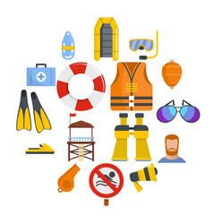 Lifeguard save icons set flat style vector