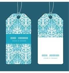 Light blue swirls damask vertical stripe frame vector