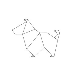 line dog in origami style vector image