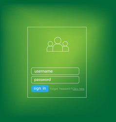 login form ui element on green background vector image
