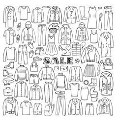 Man and woman hand drawn clothes sale vector