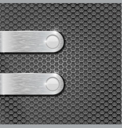 Metal perforated background with brushed steel vector