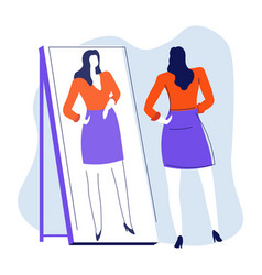 Mirror and woman looking at reflection isolated vector