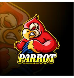 parrot esport logo mascot design vector image