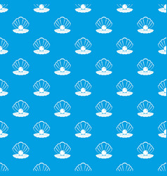 Pearl in a sea shell pattern seamless blue vector
