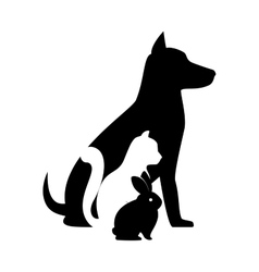 Pet shop veterinary sign silhouette dog cat bunny vector