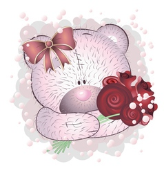 Pink bear with roses2 vector image