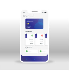 Purple and gray online banking ui ux gui screen vector