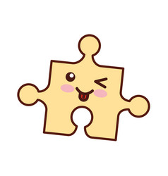 Puzzle pieces kawaii character vector