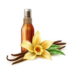 Realistic skin care spray vanilla flower vector