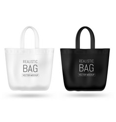 realistic textile tote bag mock up black vector image