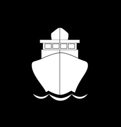 sailing ship front view icon isolated on black vector image