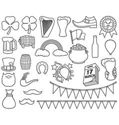 saint patrick day thin line icons vector image