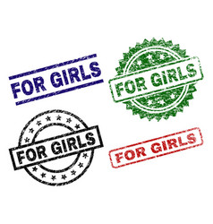 scratched textured for girls stamp seals vector image