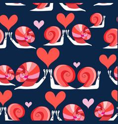 seamless bright pattern loving snails vector image