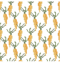 Seamless cross stitches carrot pattern on white vector