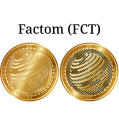 Set of physical golden coin factom fct vector
