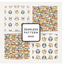 Set of random owls seamless patterns Cute nignht vector