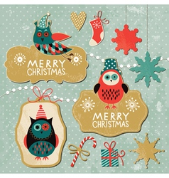 set vintage christmas and new year elements wit vector image