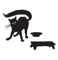 shocked cat vintage vector image