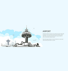 silhouette control tower and airplane vector image
