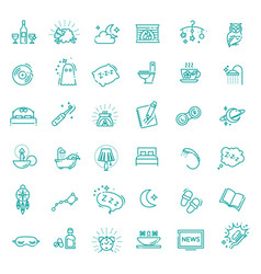 Simple set of sleep related line icons vector