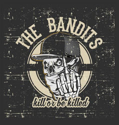 skull bandits wearing cap and bandana hand drawing vector image