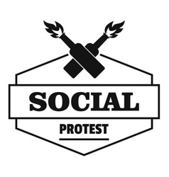 social protest molotov cocktail logo simple black vector image