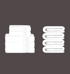 Stack clean white towels isolated on white vector