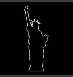 statue of liberty white color path icon vector image
