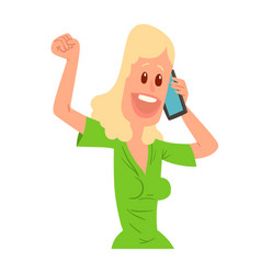 successful young girl character talking his cell vector image