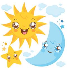 sun moon and stars vector image
