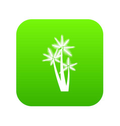 Three tropical palm trees icon digital green vector