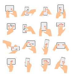 touchscreen hand gestures collection vector image