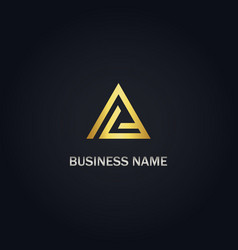 triangle line initial gold logo vector image