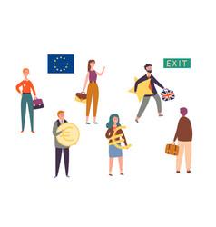 uk exit european union brexit concept character vector image