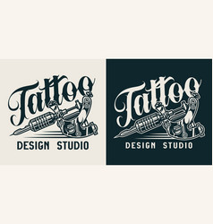 Vintage tattoo studio monochrome logo vector