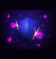 Virus attack concept shield protect health vector