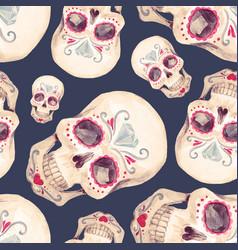Watercolor skull seamless pattern vector