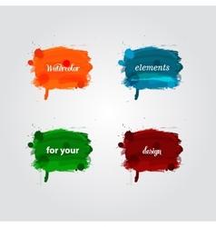 Watercolor splash bright elements vector