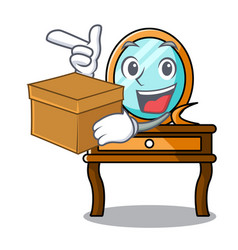 with box dressing table character cartoon vector image
