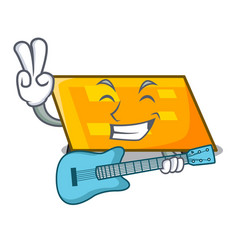 with guitar parallelogram mascot cartoon style vector image