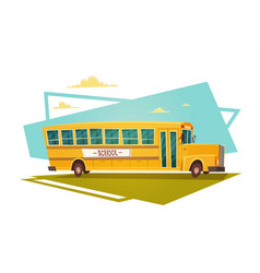 Yellow bus riding back to school 1 september vector