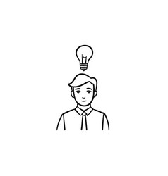 young leader hand drawn sketch icon vector image