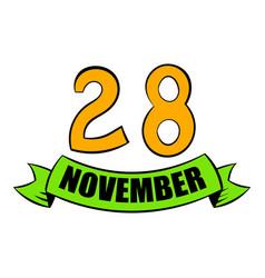 28 november date icon cartoon vector