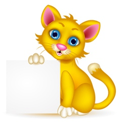Cute cat cartoon with blank sign vector image