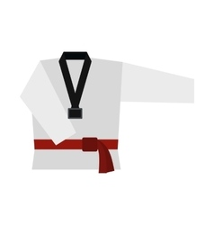 Kimono and martial arts red belt flat icon vector image