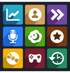 Multimedia flat icons set 6 vector image vector image