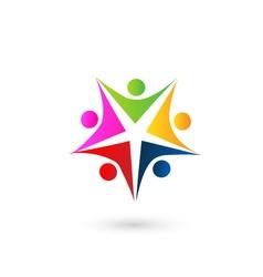 Teamwork star educational logo vector image vector image