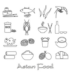 asian food theme set of simple outline icons eps10 vector image vector image